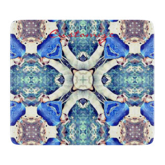 mandala hearts pattern blue cutting board