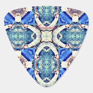 mandala hearts pattern blue guitar pick