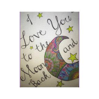"""Mandala """"I Love You Moon"""" Canvas Print"""