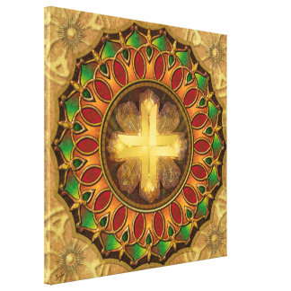 Mandala Illuminated Cross Stretched Canvas Print