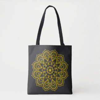 Mandala in Black and Gold Tote Bag