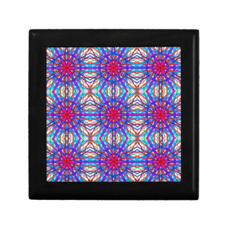Mandala In Blue And Fuchsia - Tiled Small Square Gift Box