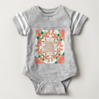 mandala in blue and salmon pink baby bodysuit