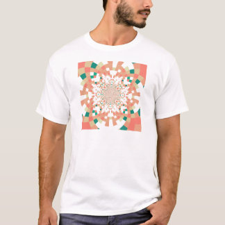 mandala in blue and salmon pink T-Shirt