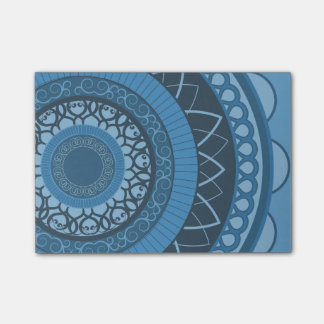 Mandala in Blue Post-it Notes