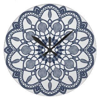 Mandala in Delft Blue Large Clock