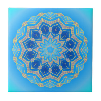 Mandala in electric blue and turquoise ceramic tile