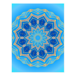 Mandala in electric blue and turquoise postcard