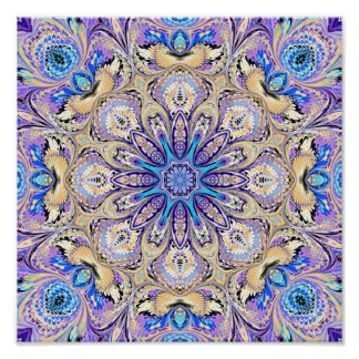 Mandala in Purple, Blue, and Gold Print