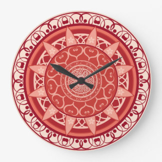 Mandala in Red Large Clock