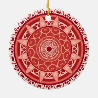 Mandala in Red Round Ceramic Decoration
