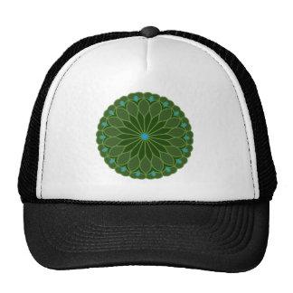 Mandala Inspired Hunter Green Flower Trucker Hats