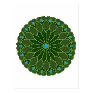 Mandala Inspired Hunter Green Flower Post Card
