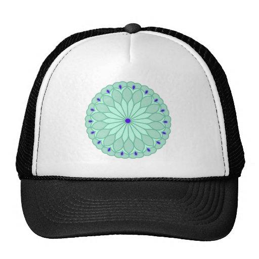 Mandala Inspired Pale Blue Flower Trucker Hats