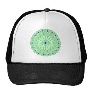 Mandala Inspired Sea Green Flower Trucker Hats