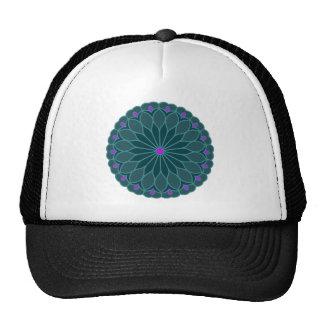 Mandala Inspired Teal Blue Flower Cap