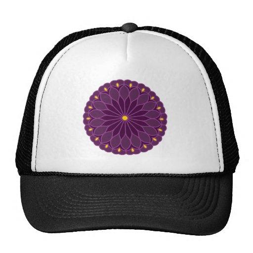 Mandala Inspired Violet Flower Trucker Hats