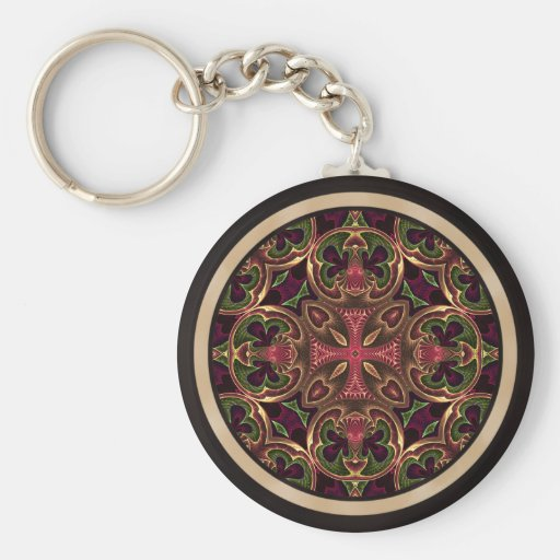 Mandala, Kaleidoscopic Cross Abstract Key Chains