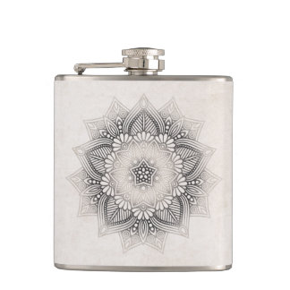 Mandala Lace Neutrals ID478 Hip Flask