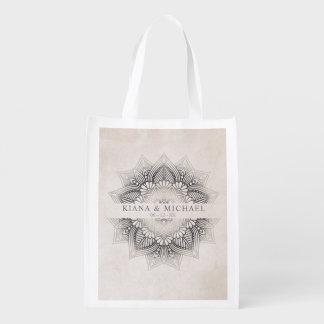 Mandala Lace Wedding Date Neutrals ID478 Reusable Grocery Bag