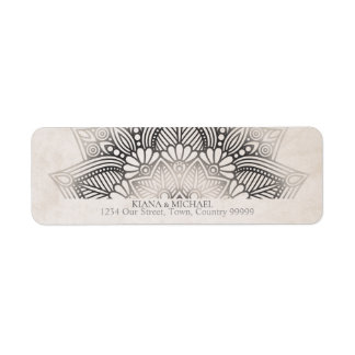 Mandala Lace Wedding Return Address Neutrals ID478 Return Address Label