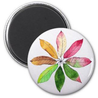 Mandala Leaves 6 Cm Round Magnet