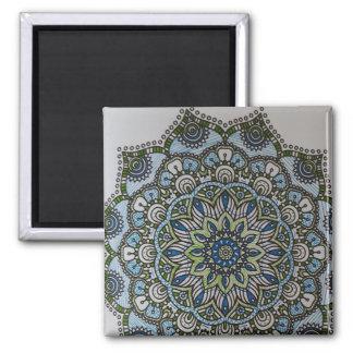 Mandala Magnet: Blue and Green Square Magnet