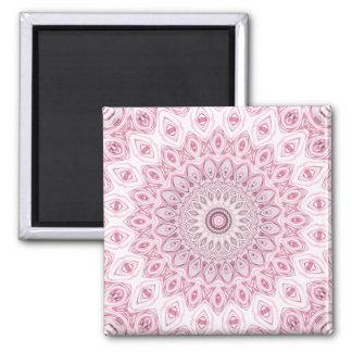 Mandala Medallion in Pink, White and Gray Square Magnet