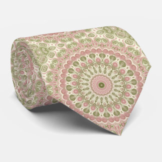 Mandala Medallion in Rose Pink and Olive Green Tie