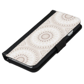 Mandala Medallion in Soft Beige and White iPhone 6 Wallet Case