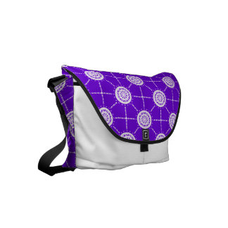 Mandala mosaic patchwork purple and mauve courier bags
