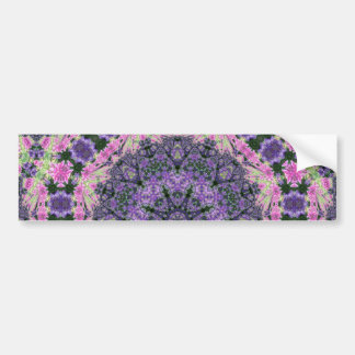 Mandala of pink and purple flowers bumper sticker