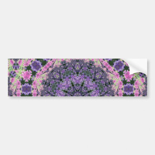 Mandala of pink and purple flowers bumper sticker