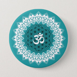 Mandala OM Flower of Life Round Button