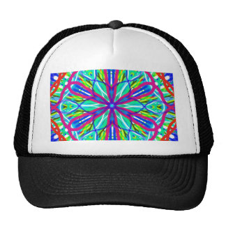Mandala On White With Blue Pink And Red Cap