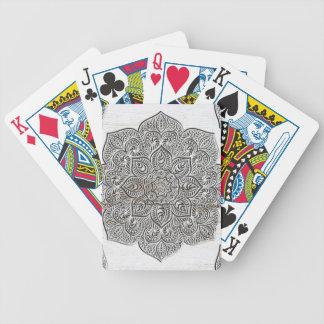 Mandala on white wood bicycle playing cards