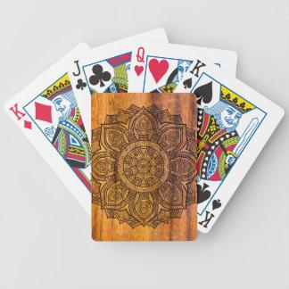 Mandala on wood poker deck
