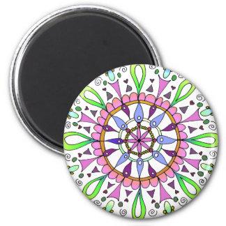Mandala Original Drawing with Digital Coloring 6 Cm Round Magnet