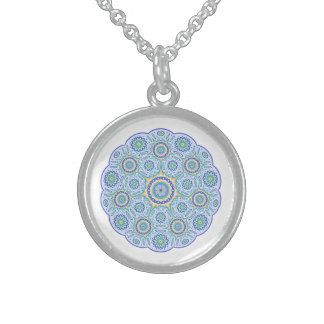 Mandala ornament sterling silver necklace