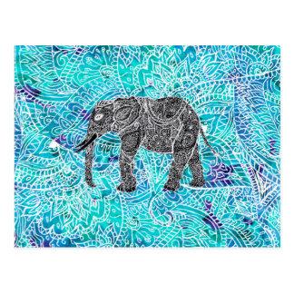 Mandala paisley boho elephant blue turquoise postcard