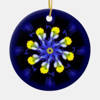 Mandala Pansy Blue & Yellow Floral Ornament