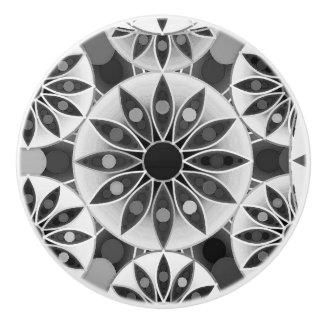 Mandala pattern , black, white and gray / grey ceramic knob
