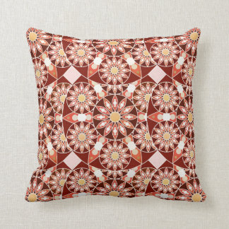 Mandala pattern, brown, rust, tan, beige cushion