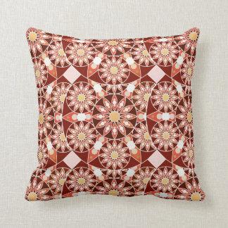 Mandala pattern, brown, rust, tan, beige throw pillow