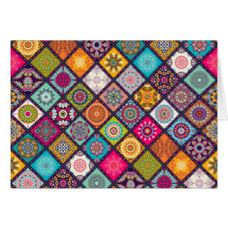 Mandala pattern colourful Moroccan Card