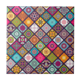 Mandala pattern colourful Moroccan Ceramic Tile