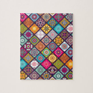Mandala pattern colourful Moroccan Jigsaw Puzzle