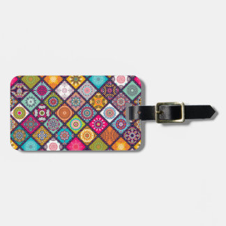 Mandala pattern colourful Moroccan Luggage Tag
