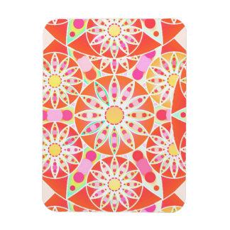 Mandala pattern, coral red, pink, gold flexible magnet