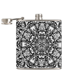 Mandala pattern hip flask